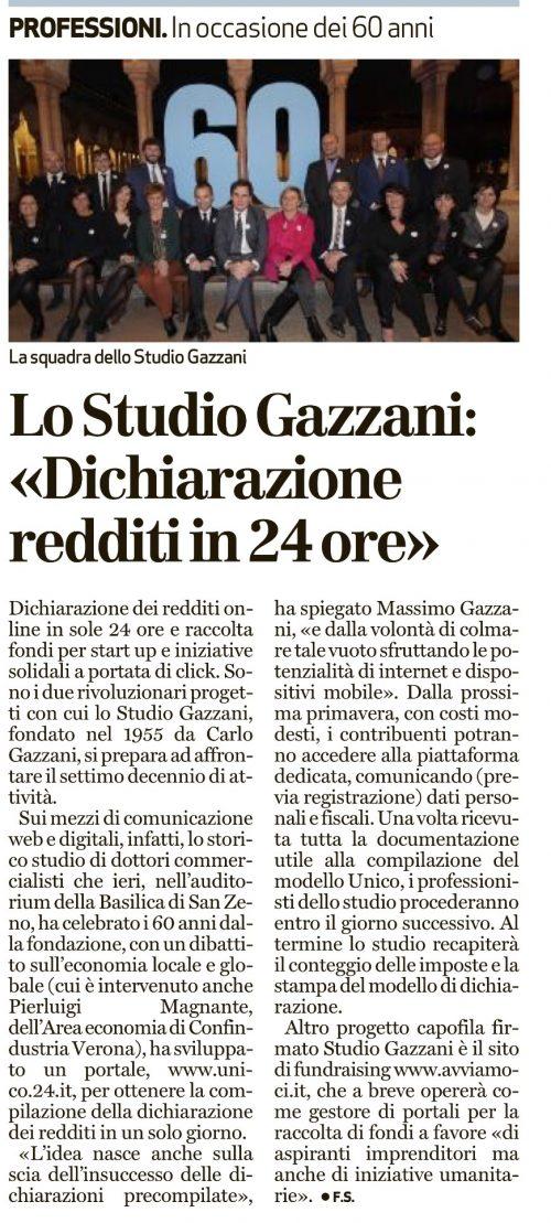 Lo Studio Gazzani celebra i suoi 60 anni di attività con un evento cittadino che si è tenuto presso la sala convegni dell'Abbazia di San Zeno, che ha avuto il suo culmine in un dibattito sull'economia locale e globale,