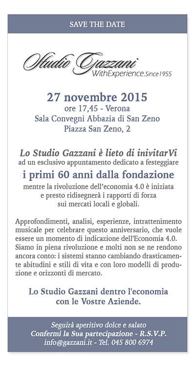 Lo Studio Gazzani è lieto di invitarVi ad un esclusivo appuntamento dedicato a festeggiare i primi 60 anni della fondazione