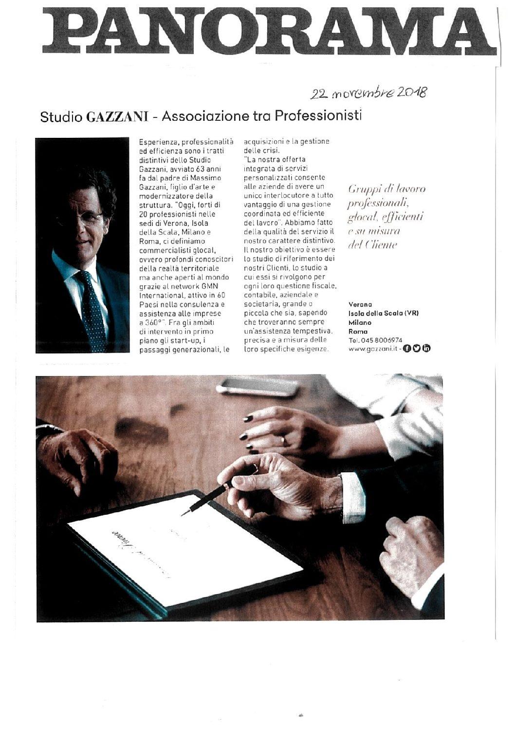 Studio GAZZANI – Associazione tra Professionisti Gruppi di lavoro professionali, glocal, efficienti e su misura. Panorama 22 novembre 2018