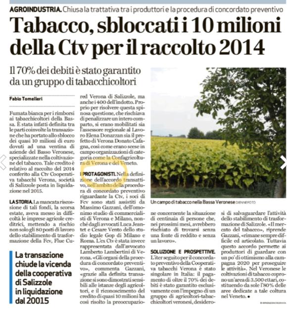 Definitiva la transazione del credito dei produttori di tabacco a Verona grazie a Massimo Gazzani dello Studio Gazzani